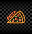neon light sign of pizza cafe vector image vector image