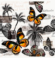 pattern with butterflies and palm trees for design vector image vector image