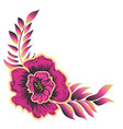 pink flower with leaves vector image vector image