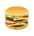 realistic burger tasty include cutlet onion vector image vector image