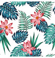 realistic tropical blue green leaves red lotus vector image vector image
