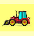 red construction bulldozer vector image