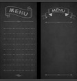 restaurant menu chalk on blackboard vintage vector image