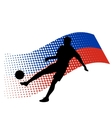russia soccer player against national flag vector image vector image