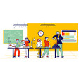schoolkids characters on chemistry lesson in vector image