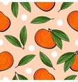 Seamless hand drawn tangerine pattern vector image