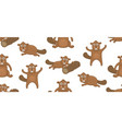 seamless pattern with beavers vector image vector image