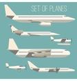 set flat planes vector image