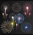 set isolated fireworks vector image vector image