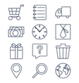 set line icons for shopping e-commerce vector image