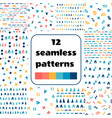 set of simple shapes seamless patterns vector image