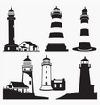 silhouettes of lighthouse vector image vector image