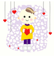 Valentine boy with red heart vector image vector image