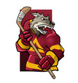 wolf ice hockey player vector image