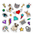 quirky fashion patches set vector image