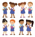 Set boy and girl with backpacks african pupil stay vector image