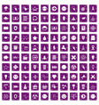 100 interface pictogram icons set grunge purple vector image vector image