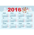 2016 Calendar template Monkey goes skiing vector image