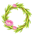 A green border with pink flowers vector image vector image