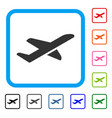 airplane takeoff framed icon vector image