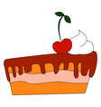cake with cherry on white background vector image vector image
