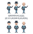 cartoon gentleman set vector image vector image