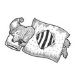 cartoon sleeping bear sketch engraving vector image
