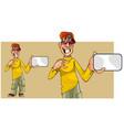cartoon teen guy shows a blank card vector image vector image