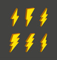 electric thunderbolt lighting flash icon set art vector image