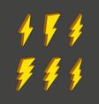 electric thunderbolt lighting flash icon set art vector image vector image