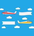 flying planes with banners vector image vector image