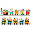 funny train with number animals vector image
