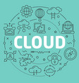 green line flat circle cloud vector image