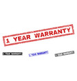 grunge 1 year warranty textured rectangle stamp vector image vector image