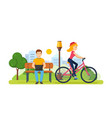 guy running on freelance girl rides bicycle vector image vector image