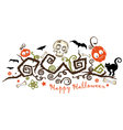 halloween creepy plant with pumpkins vector image vector image