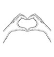 hands making heart sign sketch engraving vector image