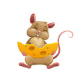 happy cartoon mouse with cheese cute rat vector image