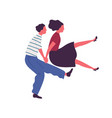happy couple jumping dancing together holding vector image vector image