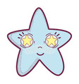 kawaii happy star with stars inside eyes vector image vector image