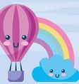 kawaii hot air balloon cloud rainbow cartoon vector image vector image