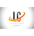 lc l c letter logo with fire flames design and vector image