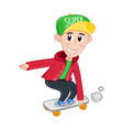 little boy riding on skateboard vector image