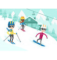 multicultural people skiing and snowboarding vector image vector image