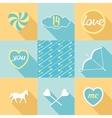 Pop-art set symbol of love vector image vector image