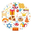Purim icons set in round shape isolated on white vector image vector image