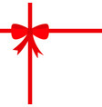 red ribbon with christmas bow icon gift box vector image