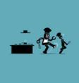 robot chef kicks away a human chef from doing his vector image