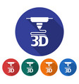 round icon of 3d printer flat style with long vector image