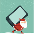 Santa holding smartphone vector image vector image